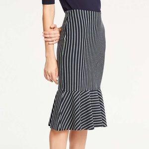 An Taylor Pinstripe Flounce Pencil Skirt